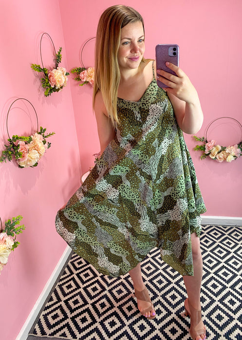 Khaki Patchwork Print Hanky Dress