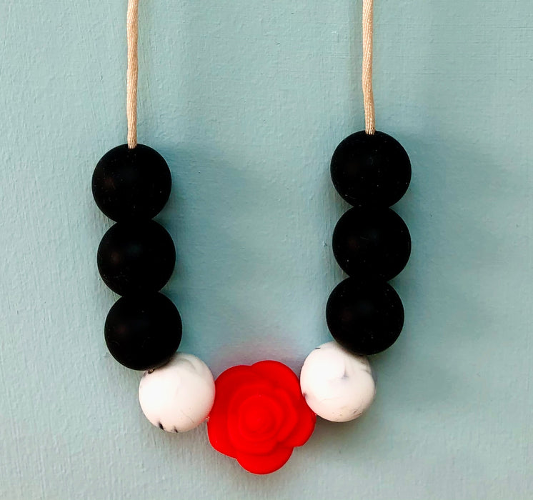 Black Marble Rose Teething Necklace