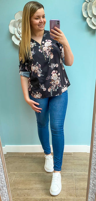 Black Floral Zip Top