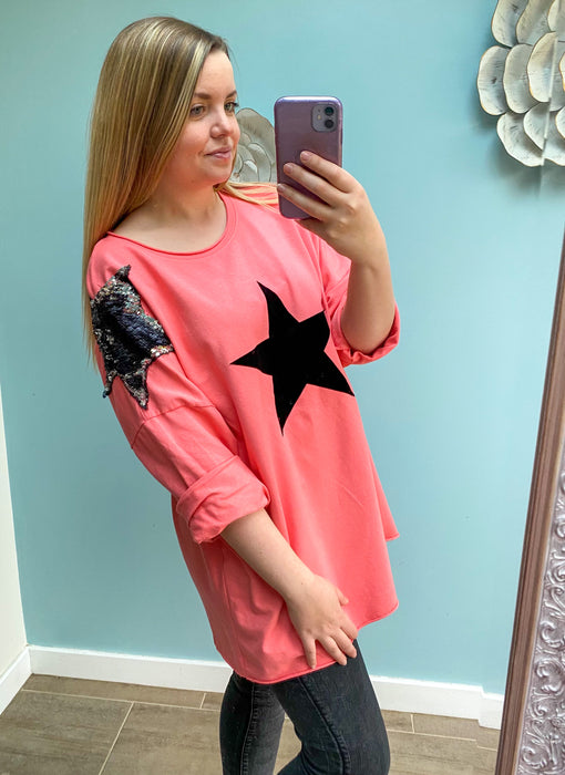 Coral Sequin Star Oversized Slouch Top