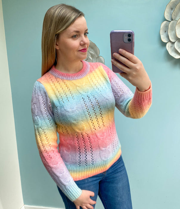 Pastel Rainbow Cable Knit Jumper