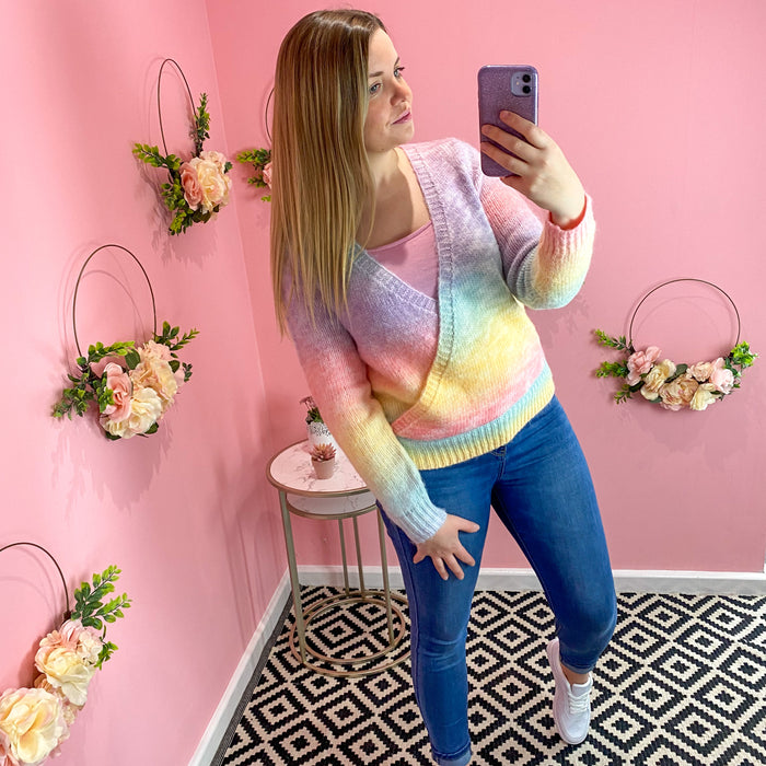 Pastel Rainbow Wrap Jumper