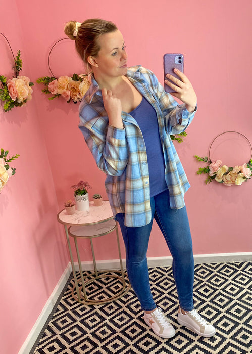 Pale Blue Oversized Check Shirt