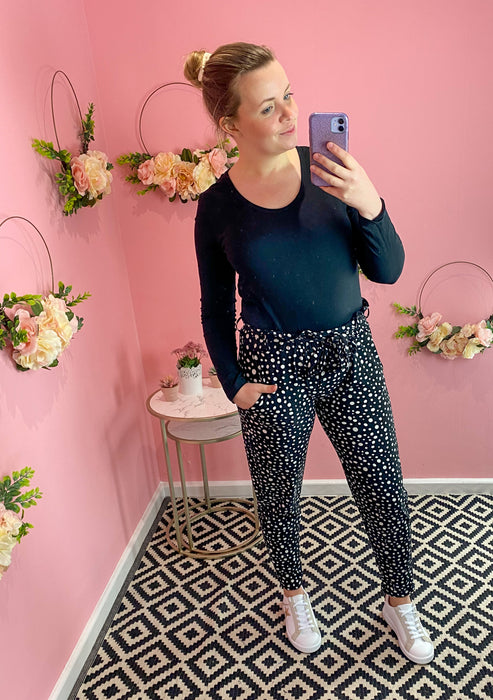 Polka Dot Super Soft & Stretch Paper Bag Trousers