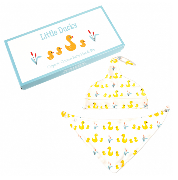 Little Ducks Organic Cotton Babies Hat And Bib Set