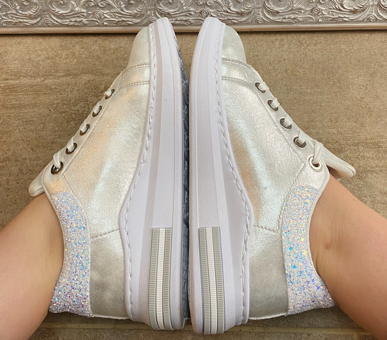 Ice White Silver Glitter Trainers