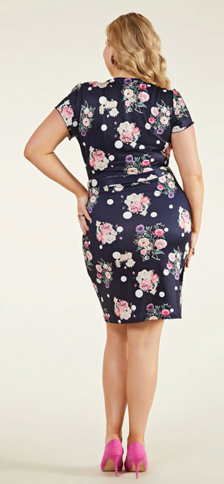 Curvy Navy Spot Floral Wrap Dress