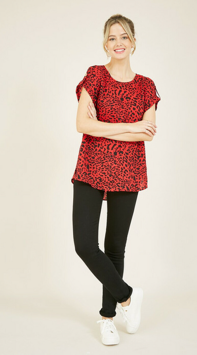 Red Animal Print Tunic Top