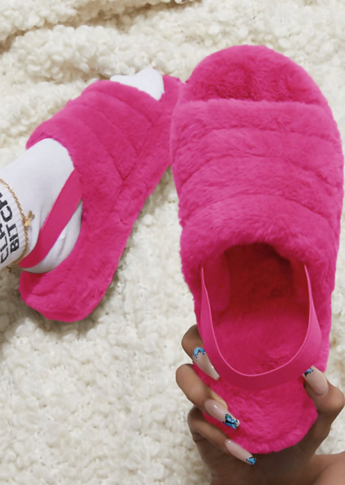 Hot Pink Fluffy Slipper Sandals