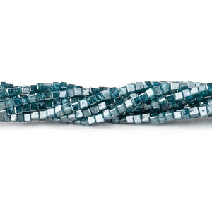 1-2mm Blue Diamond Unfaceted Cube Beads 15 inch 255 pieces - Beadsofcambay.com