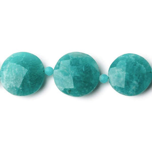 10-15mm Amazonite faceted coin & rondelle beads 16 inch 25 coins 26 rondelles - Beadsofcambay.com
