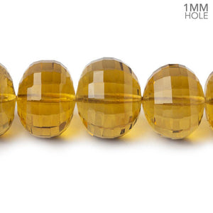 10.5-16mm Whiskey Quartz faceted rondelles 1mm large hole 16 inch 42 beads - Beadsofcambay.com