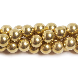 10mm Brass plain round beads 8 inch 22 pieces - Beadsofcambay.com