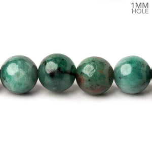 10mm Brazilian Emerald Plain Round Beads 16 inch 43 pieces 1mm Hole - Beadsofcambay.com