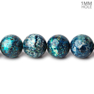 10mm Chrysocolla plain round large hole beads 15.5 inch 41 pieces A - Beadsofcambay.com