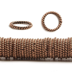 10mm Copper Twisted Jumpring 8 inch 176 pcs - Beadsofcambay.com