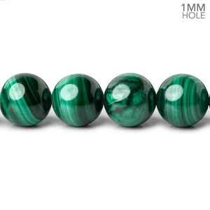 10mm Malachite plain round large hole beads 16 inch 41 pieces A - Beadsofcambay.com