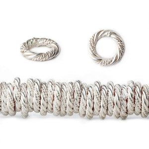 10mm Sterling Silver Plated Copper Twist and Plain Jumpring 8 inch 96 beads - Beadsofcambay.com