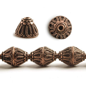 10x14mm Antiqued Copper Bead Cap Byzantine Granulated Design 8 inch 20 pcs - Beadsofcambay.com
