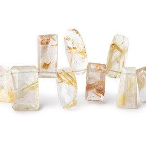 10x7-16x9mm Rutilated Quartz Faceted Fancy Shape Beads 7.5 inch 34 pieces AA - Beadsofcambay.com