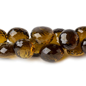 10x8mm - 14x11mm Whiskey Quartz faceted Candy Kiss beads 9 inch 48 pieces - Beadsofcambay.com