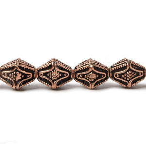10x8mm Antiqued Copper Granulated Design BiCone 8 inch 15 pcs - Beadsofcambay.com