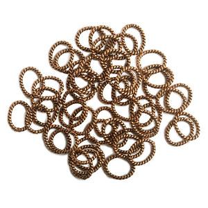 10x8mm Copper Twisted Oval Jump Ring Set of 50 pieces - Beadsofcambay.com
