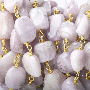 10x9-12x9mm Kunzite plain nugget Vermeil Chain by the foot - Beadsofcambay.com