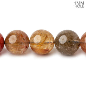 11-11.5mm Multi Rutilated Quartz plain round large hole beads 15.5 inch 34 pieces AA - Beadsofcambay.com