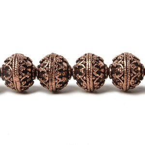 11mm Copper Persian Design Round 8 inch 19 pcs - Beadsofcambay.com