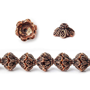 11x5mm Antiqued Copper Flower Bead Cap with Twisted Rope Edge 8 inch 40 pcs - Beadsofcambay.com