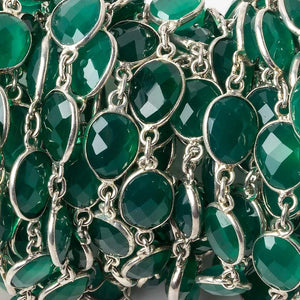 11x9mm Silver Bezel Green Onyx Nugget Silver .925 Chain by the foot 18 pieces - Beadsofcambay.com