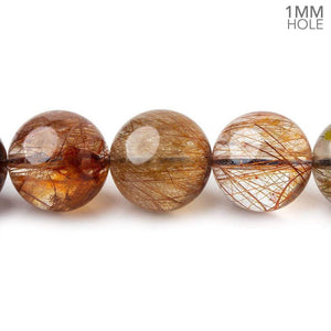12-12.5mm Multi Rutilated Quartz plain round large hole beads 15.5 inch 32 pieces A - Beadsofcambay.com