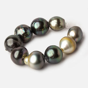 12-13mm Tahitian Saltwater 2mm Large Hole Pearls 3.5 inches 7 pieces - Beadsofcambay.com
