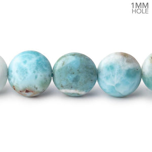 12mm Larimar Plain Coin Beads 15 inch 33 pieces AA 1mm Large Hole - Beadsofcambay.com