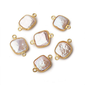 12mm Vermeil Bezel Soft Peach Square Pearl Connector 1 Piece - Beadsofcambay.com