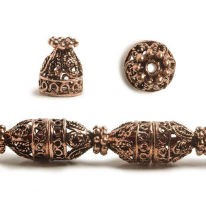12x10mm Antiqued Copper Cone or Bead Cap Bali Design With Daisy Top and Rounded Shape 8 in 18 pcs - Beadsofcambay.com