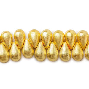 12x7mm 22kt Gold plated Brushed Tear Drop Beads 8 inch 50 pieces - Beadsofcambay.com
