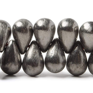 12x7mm Black Gold plated Brushed Tear Drop Beads 8 inch 50 pieces - Beadsofcambay.com