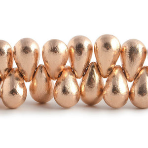 12x7mm Rose Gold plated Brushed Tear Drop Beads 8 inch 50 pieces - Beadsofcambay.com
