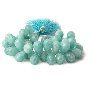 12x8-14x9mm Amazonite faceted tear drop beads 7 inch 48 pieces AA - Beadsofcambay.com