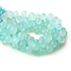 12x8mm Seafoam Blue Chalcedony top drilled faceted tear drop beads 8 inch 52 beads - Beadsofcambay.com