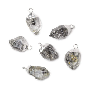 12x8mm Silver Leafed Double Terminated Quartz Natural Crystal Pendant 1 piece - Beadsofcambay.com