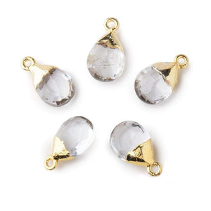 12x9mm Gold Leafed Crystal Quartz faceted pear 1 focal bead - Beadsofcambay.com