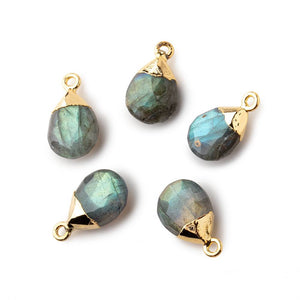 12x9mm Gold Leafed Labradorite faceted pear 1 focal bead - Beadsofcambay.com