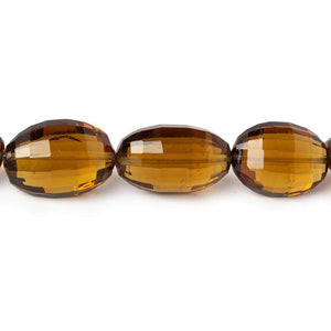 13-18mm Whiskey Quartz Checkerboard Faceted Oval Beads 8 inch 13 pieces - Beadsofcambay.com
