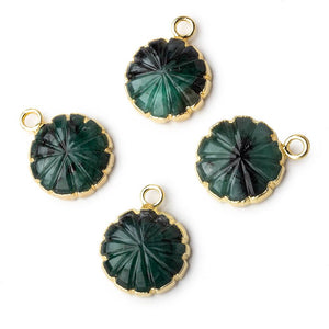 13mm 22kt Gold Leafed Brazilian Emerald carved floral coin Pendant 1 focal bead - Beadsofcambay.com