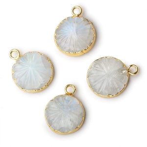 13mm 22kt Gold Leafed Rainbow Moonstone carved floral coin Pendant 1 focal bead - Beadsofcambay.com