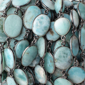 13x10-16x13mm Black Gold .925 Bezel Larimar Plain Nugget Chain by the foot - Beadsofcambay.com