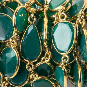 13x13-15x12mm Vermeil Bezel Green Onyx Nugget Vermeil Chain by the foot 14 pcs - Beadsofcambay.com